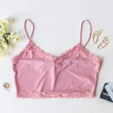-Pink Color -Lace on Top and Bottom -Spaghetti Straps -Ribbed -Fabric Stretches -Crop Top  Material: 95% Polyester | 5% Spandex  HF21E405 TANK PNK