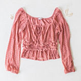 PINK LACE AND RUFFLE LONG SLEEVE