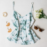 -Green Tie Dye Color -Lined -Spagetti Straps  -Adjustable Straps -Flowy Long Fit -Breathable Fabric   Materials: 100% Rayon  DZ21E853 TANK GRNTD