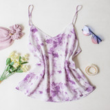 -Purple Tie Dye Color -Lined -Spagetti Straps  -Adjustable Straps -Flowy Long Fit -Breathable Fabric   Materials: 100% Rayon  DZ21E853 TANK PRPTD