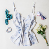 -Blue Dye Color -Lined -Spagetti Straps  -Adjustable Straps -Flowy Long Fit -Breathable Fabric   Materials: 100% Rayon  DZ21E853 TANK BLUTD