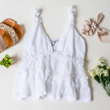 -White Color -Ruffle Elastic Straps -V-Neck -Peplum Ruffle at Waist -Unlined -Breathable Fabric -Fabric Stretches  Materials: 65% Polyester   35% Cotton  HF21F382 TANK WHT