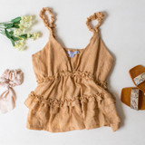-Camel Color -Ruffle Elastic Straps -V-Neck -Peplum Ruffle at Waist -Unlined -Breathable Fabric -Fabric Stretches  Materials: 65% Polyester | 35% Cotton  HF21F382 TANK CML
