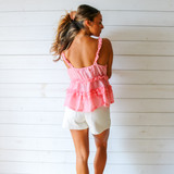 -Bubblegum Pink Color -Ruffle Elastic Straps -V-Neck -Peplum Ruffle at Waist -Unlined -Breathable Fabric -Fabric Stretches  Materials: 65% Polyester   35% Cotton  HF21F382 TANK PNK