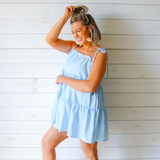 -Baby Blue Color -Spagetti Straps -Ties on Straps -Ruffle Tiers  -Popcorn Texture -Cami Neckline -Breathable Fabric  Materials: 100% Polyester  HF21F976 DRESS BLU