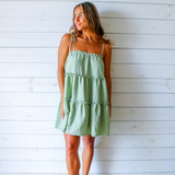 -Olive Color -Spagetti Straps -Ties on Straps -Ruffle Tiers  -Popcorn Texture -Cami Neckline -Breathable Fabric  Materials: 100% Polyester  HF21F976 DRESS OLV