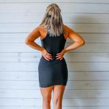 -Black Color -Acid Wash Detail at Neckline -Racerback -Ribbed -Fabric Stretches  -Mini Dress  Materials: 95% Cotton | 5% Spandex  DZ21F055 DRESS BLK