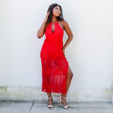 -Red Color -Lace Detail -Adjustable Straps -Keyhole V-Cut  -Elastic Waist  -Lined with Shorts -Maxi Dress  Materials: 70% Cotton   30% Nylon  OD98121 MAXI REDL