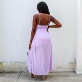 -Lilac Color -Crochet Detail on Bust -Smocked in Back -Adjustable Straps -Leg Slit -Maxi Dress  Materials: 100% Polyester  OD87340 MAXI PRPL