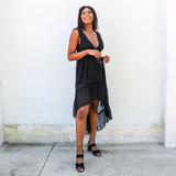 BLACK LACE TRIM MAXI DRESS