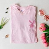 -Light and Hot Pink Colors -Playboy Symbol on Front -Playboy Lettering on Back -Short Sleeve -Loose Fit -Tee Shirt  Materials: 100% Cotton  BAND TEE 4PLAYP