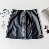 -Black Color -Zipper Up Front -Elastic Waistband -Vertical Stitching -Fabric Does Not Stretch -Pleather Material -Skirt  Materials: Polyester 94%, Spandex 6%  92691 SKIRT BLK
