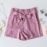 -Mulberry Color -Bow -Ties -Belt Loops -Pockets -Elastic Waist -High Waist -Paper Bag Style -Fabric Stretches -Comes in 2 Colors -Shorts  Material: 95% Polyester | 5% Spandex  94767 SHORT BRY