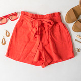 -Red Color -Bow -Ties -Belt Loops -Pockets -Elastic Waist -High Waist -Paper Bag Style -Fabric Stretches -Shorts  Material: Linen 50%   Rayon 50%  94625 SHORT RED