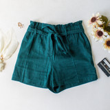 -Emerald Green Color -Bow -Ties -Belt Loops -Pockets -Elastic Waist -High Waist -Paper Bag Style -Fabric Stretches -Shorts  Material: Linen 50%   Rayon 50%  94625 SHORT GRN