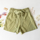-Light Green Color -Bow -Ties -Belt Loops -Pockets -Elastic Waist -High Waist -Paper Bag Style -Fabric Stretches -Shorts  Material: Linen 50%   Rayon 50%  94625 SHORT MNT