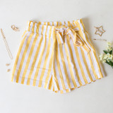 -Yellow and White Stripes -Off-Center Ribbon Tie -Paper Bag Fit -Elastic Stretch Waistband for Fit -Usable Side Pockets -Shorts   Materials: Cotton 97% | Spandex 3%  94708 SHORT YELS