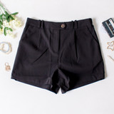 -Black Color -Elastic Waistband in Back -Zipper and Button Closure -Side Pockets -Pleated -Belt Loops -Shorts  Materials: Cotton 55% | Polyester 40% | Spandex 5%  94944 SHORT BLK