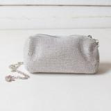 -Silver Bag -Rhinestones  -Zipper Closure -Strap is Detachable  -Lined Inside -Purse  VINTPERM BAG16 VAR