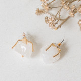 -Replica Quartz Stone -Gold Prong Setting -Stud -Earrings   0521 STUD EARRING