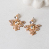 -Gold Bumble Bees -Crystal on Lobe -Earrings   0421 STUD EARRING