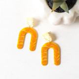 -Plastic -U Design -Yellow, White, and Orange Boho Print -Dangle -Earrings  0321 DANGLE EARRING