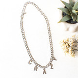 -Silver -Crazy Letter Charms -Chainlink Chain -Clasp Closure -Choker -Necklace  1220 CHARM NECKLACE CRAZY