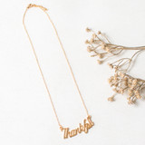 """-Gold Chain -Charm Reads """"Thankful"""" -Medium Chain Length -Necklace   0221 CHARM NECKLACE THANK"""