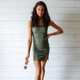 -Olive Color -Strapless -Smocked/Elastic Material -Lettuce Edge Neckline -Slit at Bottom -Bodycon -Dress  Materials: 100% Polyester  WD8208 DRESS OLV