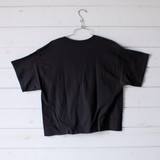 """-Black Color -Size Large -Lace Up Front -Open V Neck -Oversized Fit -Raw Bottom -Tee Shirt  Materials: 100% Cotton  Clothing Measurements: Bust: 21"""" Length: 24"""" Sleeve Length: 9"""""""