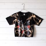 "-Black Color -Guns & Roses Print -Yellow Bleach Tye Dye -No Holes -Mesh V-Neck Cutout -Oversized Fit -Raw Bottom -Tee Shirt  Size Small  Materials: 100% Cotton  Clothing Measurements: Bust: 16"" Length: 20"" Sleeve Length: 9"""