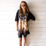 """-Black Color -Led Zeppelin Print -Bleach Tye Dye -No Holes -Lace Up Front -Open V Neck -Oversized Fit -Can Be Worn As Dress -Tee Shirt  Size X Large  Materials: 100% Cotton  Clothing Measurements: Bust: 24"""" Length: 30"""" Sleeve Length: 10"""""""