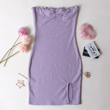 -Lilac Color -Strapless -Smocked/Elastic Material -Lettuce Edge Neckline -Slit at Bottom -Bodycon -Dress  Materials: 100% Polyester  WD8208 DRESS PRP