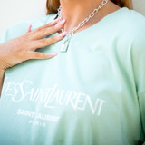 -Green Color -White YSL Logo -Crew Neck -Long Fit -Tee Shirt  Materials: 100% Cotton  0521 GRN YSL TEE