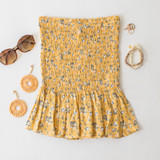 -Yellow Color -Floral Print -High Waisted -Smocked Elastic Fit -Bottom Ruffle -Matching Set (Bottoms) -Skirt  Materials: 95% Polyester | 5% Spandex  WS8042 SKIRT YELF