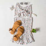 -White Color -Floral Print -High Waisted -Smocked Elastic Fit -Bottom Ruffle -Matching Set (Bottoms) -Skirt  Materials: 95% Polyester | 5% Spandex  WS8042 SKIRT WHTF