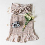 -Tan Color -Floral Print -High Waisted -Smocked Elastic Fit -Elastic Waistband -Bottom Ruffle -Matching Set (Bottoms) -Skirt  Materials: 95% Polyester | 5% Spandex  WN8612 SKIRT TAN