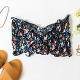 -Black Color -Floral Print -Smocked Elastic Material -Ties in Front -Ruffle on Top and Bottom -Bandeau/Crop Top  Materials: 100% Rayon  WN8479 CROP BLKF