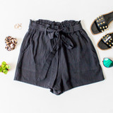 -Black Color -Ties in Front -Soft Terry Cloth-Like Material -Pleated -Elastic Waistband -Pockets -Lined -Short  Materials: 100% Cotton  HF21G011 SHORT BLK
