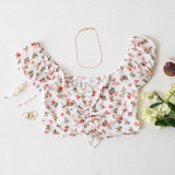 -White Color -Pink Floral Pattern -Smocked Elastic Back -Ruched in Front -Front Rushing is Adjustable -Short Puff Sleeves (Elastic) -Sweetheart Neckline -Crop Top  Materials: 100% Rayon  WN8536 CROP RSTF