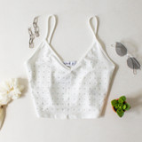 -White Color -Rhinestones on Front -V-Cut -Spaghetti Straps (Non-Adjustable) -Shiny Material -Crop Top Length -Fabric Stretches -Tank -Top  Materials: 82% Polyester | 18% Spandex  TB8944 CROP WHT