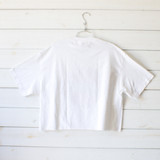 """-White Color -Harley Davidson Print -Oversized Fit -Crew Neck -Raw Hem -Short Sleeve -Crop Top  Materials: 100% Cotton  Clothing Measurements: Bust: 23"""" Length: 19"""" Sleeve Length: 9"""""""