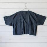 "-Black Color -White Balenciaga Print -Crew Neck -Raw Hem -Short Sleeves -Crop Top   Materials: 100% Cotton  Clothing Measurements: Bust: 21"" Length: 18"" Sleeve Length: 9"""