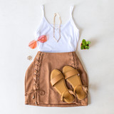 -Suede Color -Lace Up Detail On Front -Back Zipper -Lined -High Waisted -Skirt  Materials: 90% Polyester | 10% Spandex  SI5557 SKIRT TAN