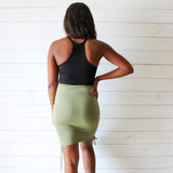 -Green Color -Ruched and Self-Tying -Fitted  -Lace Up Detail on Sides -High Waisted -Skirt  Materials: 95% Rayon | 5% Spandex  SI5606 SKIRT GRN