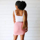 -Pink Color -Ruched on One Side -Elastic Waistband -Lined -Detail at side -High Waisted -Skirt  Materials: 95% Rayon | 5% Spandex  SGI3602 SKIRT PNK
