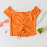 -Orange Color -Off Shoulder -Ruched in Front -Self-Tying -Elastic Neckline -Crop Top  Materials: 100% Polyester  TGI3096 CROP ORG