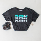 -Black Color -Blue Playboy Print -Crew Neck -Short Sleeves -Crop Top  Materials: 100% Cotton  DZ21E188 TEE B/PBB