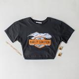 -Black Color -Harley Davidson Print -Crew Neck -Short Sleeves -Crop Top  Materials: 100% Cotton  DZ21E188 TEE B/EAG