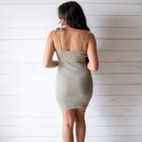 -Olive Green Color -Ribbed -Bodycon  -Tie Straps  -Fabric Stretches -Mini Dress  Materials: 95% Cotton | 5% Spandex  DZ21F294 DRESS OLV